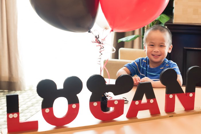 Mickey Mouse Letter Banner from a Minnie Mouse Birthday Party via Kara's Party Ideas | KarasPartyIdeas.com (5)