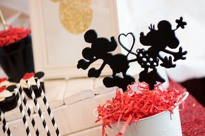 Minnie & Mickey silhouette from a Minnie Mouse Birthday Party via Kara's Party Ideas | KarasPartyIdeas.com (20)