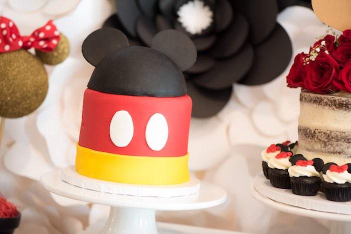 Mickey Mouse Cake from a Minnie Mouse Birthday Party via Kara's Party Ideas | KarasPartyIdeas.com (17)