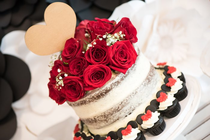 Red rose topped chocolate naked cake from a Minnie Mouse Birthday Party via Kara's Party Ideas | KarasPartyIdeas.com (16)