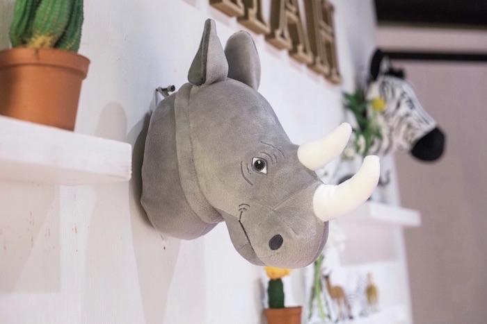 Plush rhino head from a Modern Animal Birthday Party via Kara's Party Ideas | KarasPartyIdeas.com (15)