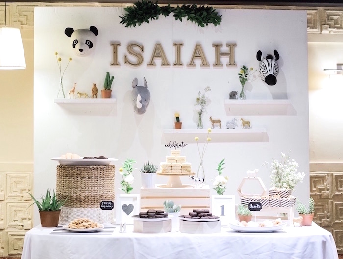 Dessert table from a Modern Animal Birthday Party via Kara's Party Ideas | KarasPartyIdeas.com (10)