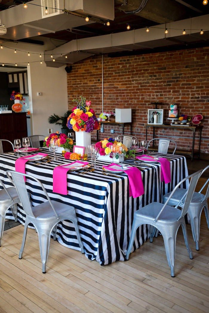 Party table from a Modern Floral + Art Tween Birthday Party | Bat Mitzvah via Kara's Party Ideas KarasPartyIdeas.com (41)