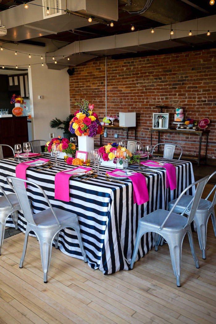 Party table from a Modern Floral + Art Tween Birthday Party | Bat Mitzvah via Kara's Party Ideas KarasPartyIdeas.com (41)