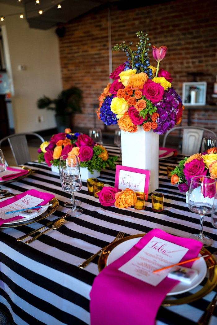 Party table from a Modern Floral + Art Tween Birthday Party | Bat Mitzvah via Kara's Party Ideas KarasPartyIdeas.com (40)