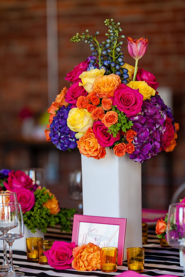 Floral arrangement centerpiece from a Modern Floral + Art Tween Birthday Party | Bat Mitzvah via Kara's Party Ideas KarasPartyIdeas.com (39)