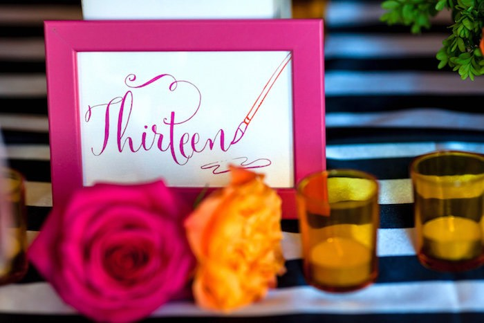 Pink framed party signage from a Modern Floral + Art Tween Birthday Party | Bat Mitzvah via Kara's Party Ideas KarasPartyIdeas.com (38)