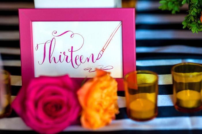 Pink framed party signage from a Modern Floral + Art Tween Birthday Party | Bat Mitzvah via Kara's Party Ideas KarasPartyIdeas.com (38)