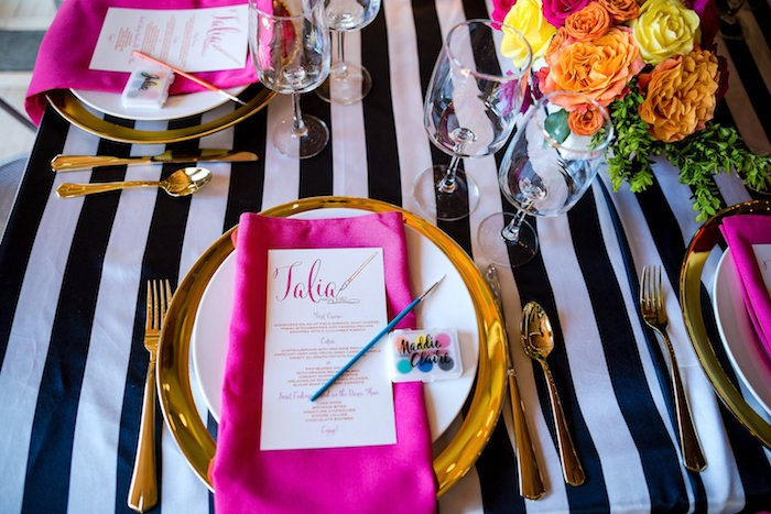 Place setting from a Modern Floral + Art Tween Birthday Party | Bat Mitzvah via Kara's Party Ideas KarasPartyIdeas.com (37)