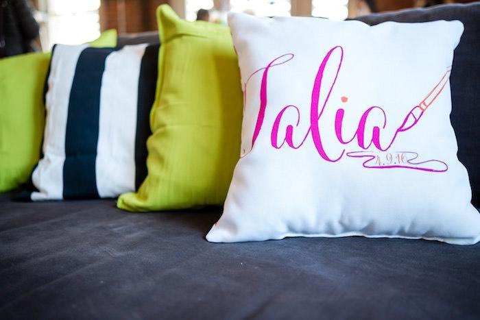 Custom pillows from a Modern Floral + Art Tween Birthday Party | Bat Mitzvah via Kara's Party Ideas KarasPartyIdeas.com (33)