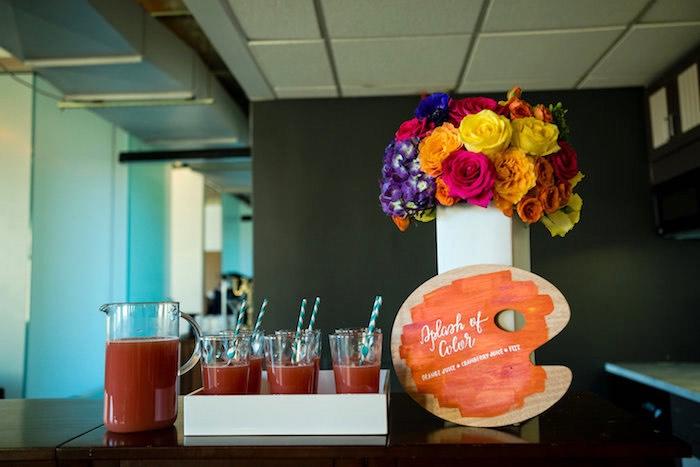 Drinks from a Modern Floral + Art Tween Birthday Party | Bat Mitzvah via Kara's Party Ideas KarasPartyIdeas.com (32)