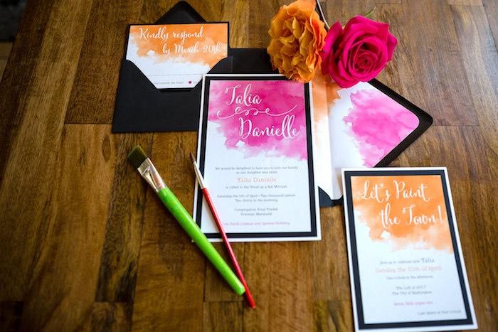 Invitation from a Modern Floral + Art Tween Birthday Party | Bat Mitzvah via Kara's Party Ideas KarasPartyIdeas.com (50)