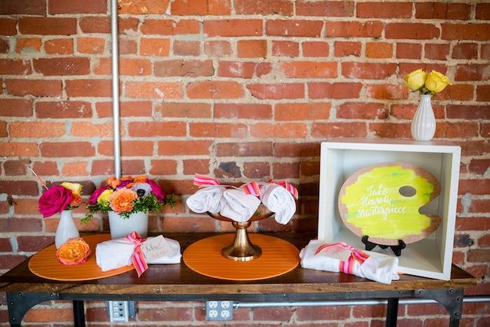 Party table from a Modern Floral + Art Tween Birthday Party | Bat Mitzvah via Kara's Party Ideas KarasPartyIdeas.com (30)