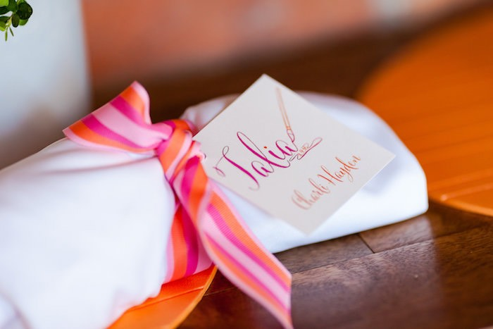 Personalized napkin from a Modern Floral + Art Tween Birthday Party | Bat Mitzvah via Kara's Party Ideas KarasPartyIdeas.com (28)