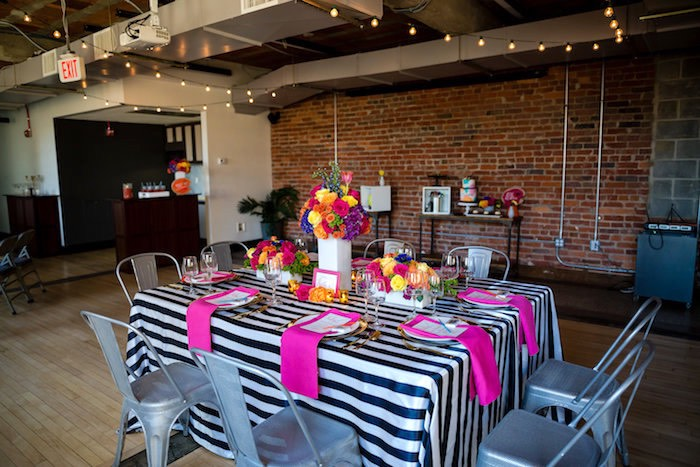 Party tablescape from a Modern Floral + Art Tween Birthday Party | Bat Mitzvah via Kara's Party Ideas KarasPartyIdeas.com (27)