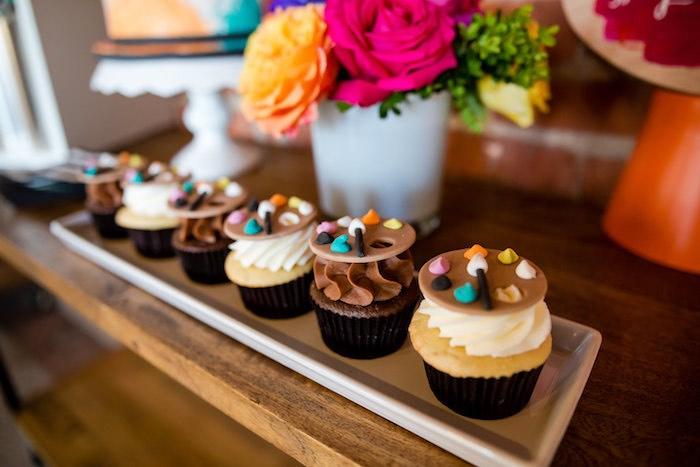 Paint palette cupcakes from a Modern Floral + Art Tween Birthday Party | Bat Mitzvah via Kara's Party Ideas KarasPartyIdeas.com (25)