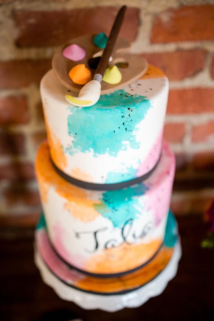 Watercolor cake from a Modern Floral + Art Tween Birthday Party | Bat Mitzvah via Kara's Party Ideas KarasPartyIdeas.com (23)
