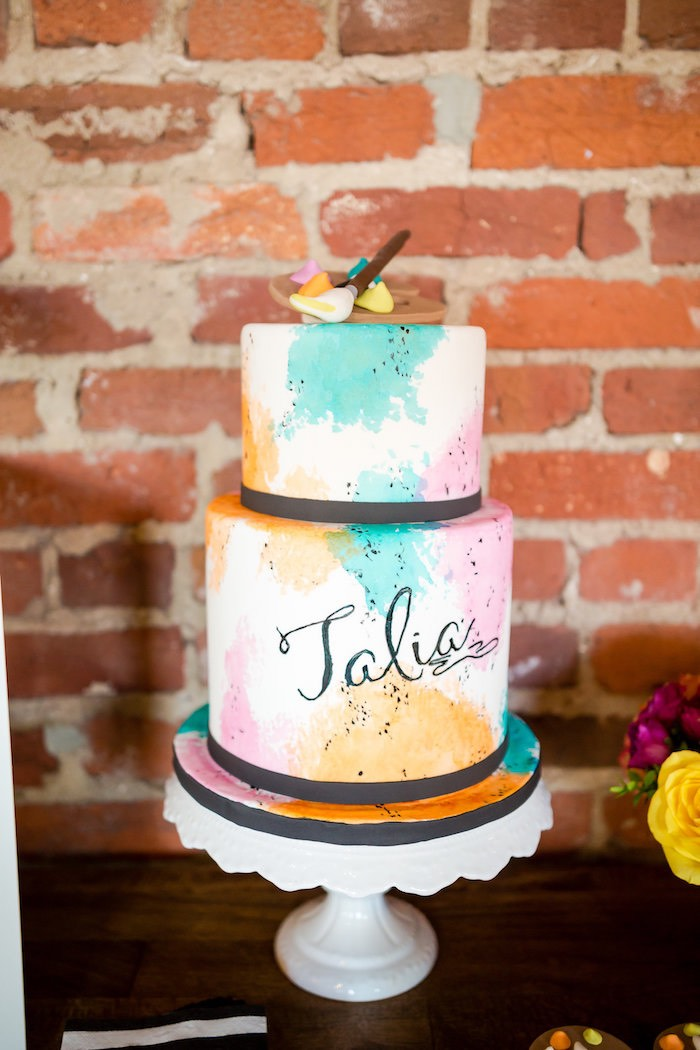 Watercolor cake from a Modern Floral + Art Tween Birthday Party | Bat Mitzvah via Kara's Party Ideas KarasPartyIdeas.com (22)