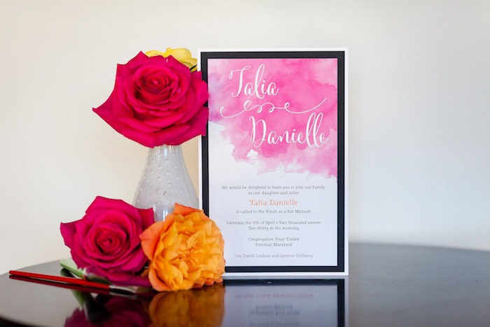 Invitation from a Modern Floral + Art Tween Birthday Party | Bat Mitzvah via Kara's Party Ideas KarasPartyIdeas.com (49)
