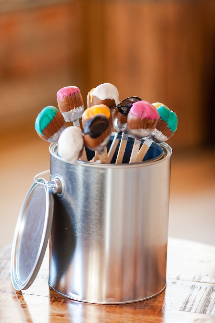 Paintbrush pops from a Modern Floral + Art Tween Birthday Party | Bat Mitzvah via Kara's Party Ideas KarasPartyIdeas.com (20)