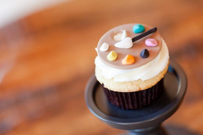 Art palette cupcake from a Modern Floral + Art Tween Birthday Party | Bat Mitzvah via Kara's Party Ideas KarasPartyIdeas.com (18)