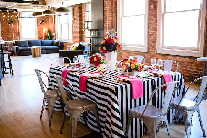 Modern tablescape from a Modern Floral + Art Tween Birthday Party | Bat Mitzvah via Kara's Party Ideas KarasPartyIdeas.com (17)
