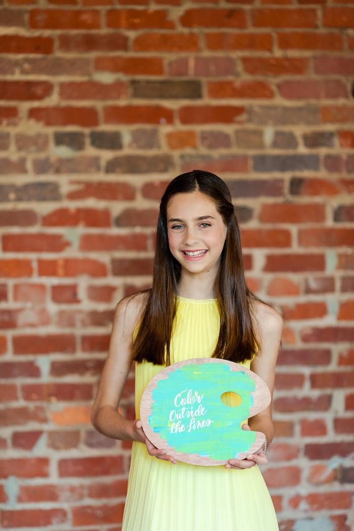 Birthday girl + guest of honor from a Modern Floral + Art Tween Birthday Party | Bat Mitzvah via Kara's Party Ideas KarasPartyIdeas.com (16)