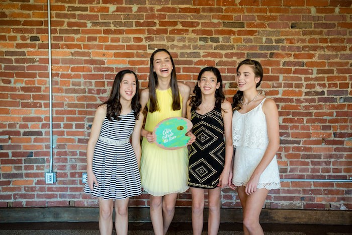 Photo op from a Modern Floral + Art Tween Birthday Party | Bat Mitzvah via Kara's Party Ideas KarasPartyIdeas.com (15)