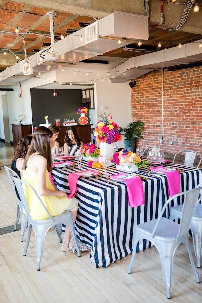 Guest table from a Modern Floral + Art Tween Birthday Party | Bat Mitzvah via Kara's Party Ideas KarasPartyIdeas.com (14)