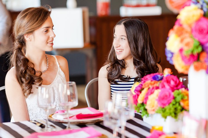 Girls from a Modern Floral + Art Tween Birthday Party | Bat Mitzvah via Kara's Party Ideas KarasPartyIdeas.com (13)