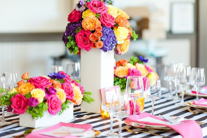 Gorgeous floral centerpieces & tablescape from a Modern Floral + Art Tween Birthday Party | Bat Mitzvah via Kara's Party Ideas KarasPartyIdeas.com (10)