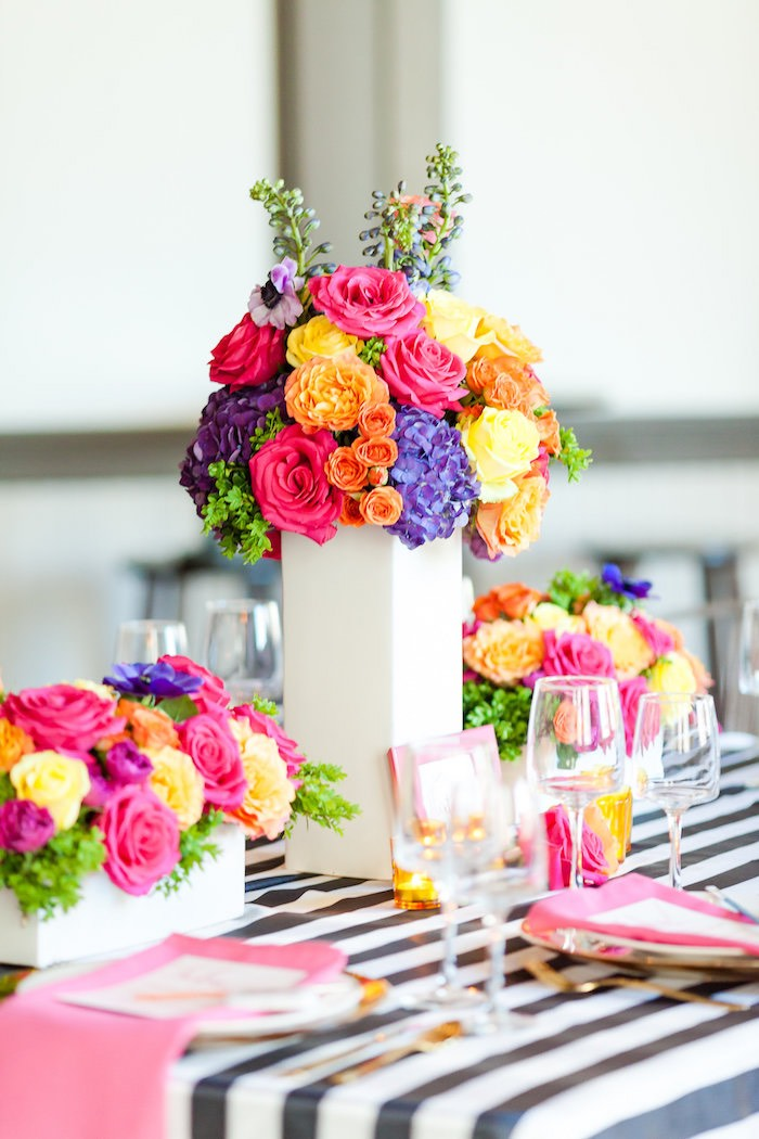 Gorgeous floral centerpieces & tablescape from a Modern Floral + Art Tween Birthday Party | Bat Mitzvah via Kara's Party Ideas KarasPartyIdeas.com (9)