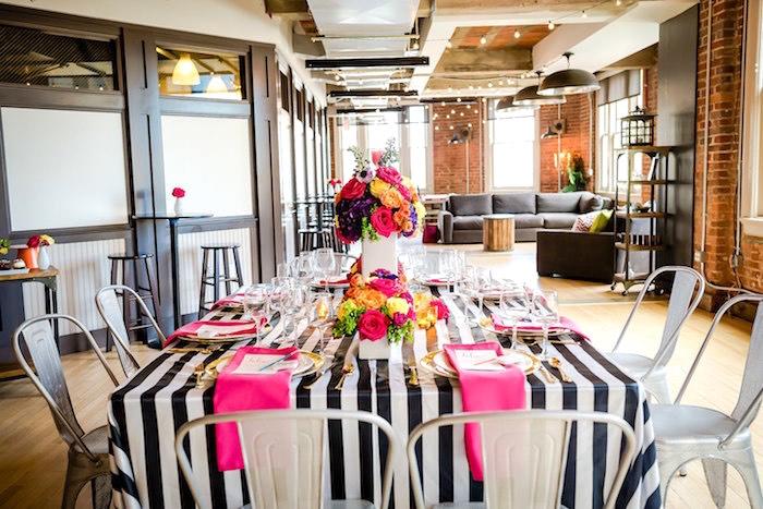 Dining table from a Modern Floral + Art Tween Birthday Party | Bat Mitzvah via Kara's Party Ideas KarasPartyIdeas.com (8)