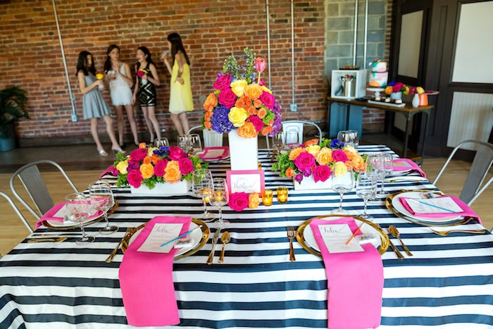 Dining tablescape from a Modern Floral + Art Tween Birthday Party | Bat Mitzvah via Kara's Party Ideas KarasPartyIdeas.com (7)