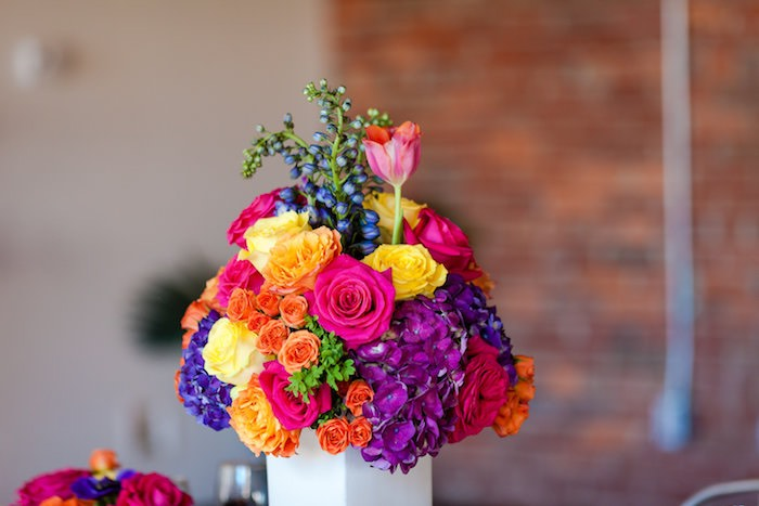 Bright colored floral arrangement from a Floral arrangement from a Modern Floral + Art Tween Birthday Party | Bat Mitzvah via Kara's Party Ideas KarasPartyIdeas.com (6)