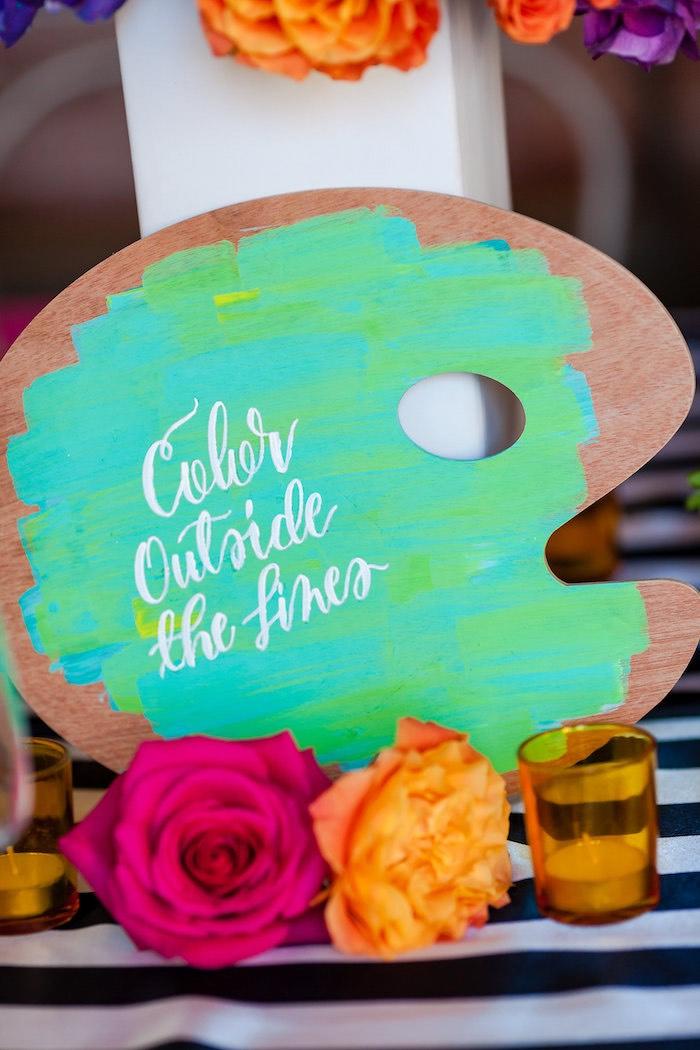 Palette party decor from a Modern Floral + Art Tween Birthday Party | Bat Mitzvah via Kara's Party Ideas KarasPartyIdeas.com (47)