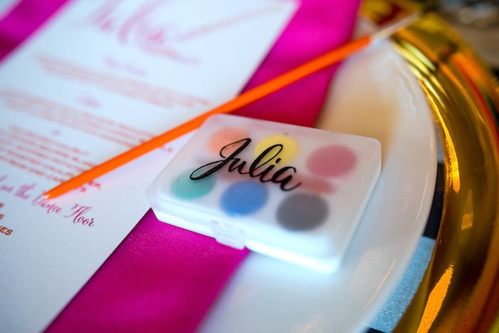 Custom watercolor place setting from a Modern Floral + Art Tween Birthday Party | Bat Mitzvah via Kara's Party Ideas KarasPartyIdeas.com (45)