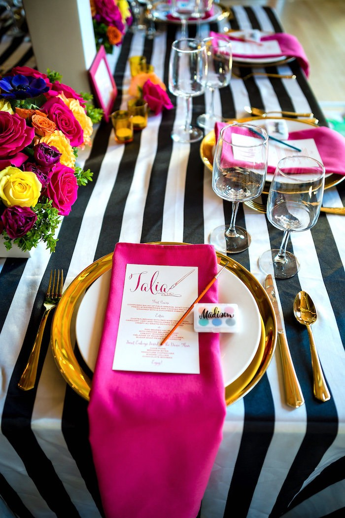 Place setting from a Modern Floral + Art Tween Birthday Party | Bat Mitzvah via Kara's Party Ideas KarasPartyIdeas.com (44)