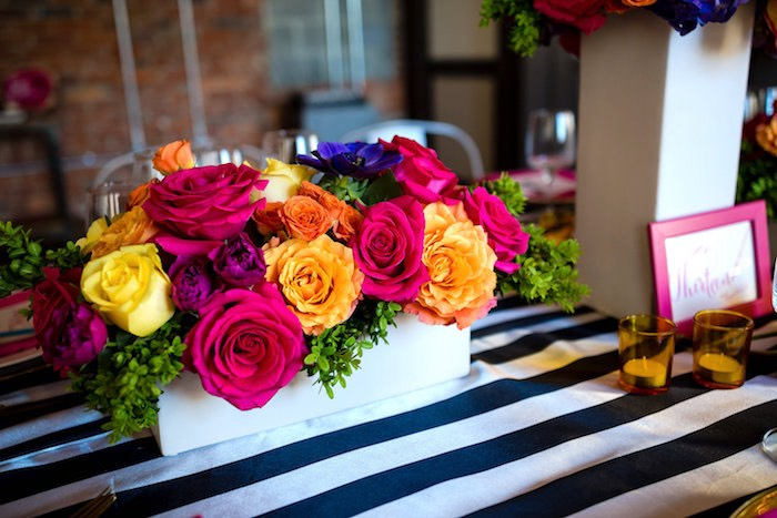 Floral box centerpiece from a Modern Floral + Art Tween Birthday Party | Bat Mitzvah via Kara's Party Ideas KarasPartyIdeas.com (43)