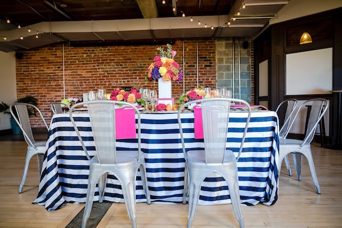 Mod party table from a Modern Floral + Art Tween Birthday Party | Bat Mitzvah via Kara's Party Ideas KarasPartyIdeas.com (42)