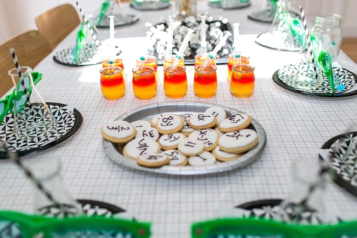 Kids Dining Tablescape From A Modern Science Themed Birthday Party Via Karas Ideas KarasPartyIdeas