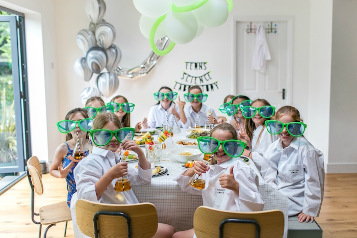 Kara S Party Ideas Modern Science Themed Birthday Party