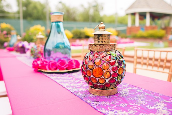 Stunning party table detail from a Moroccan Genie Party via Kara's Party Ideas | KarasPartyIdeas.com (31)