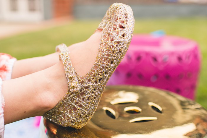 Glitter gold jelly shoes worn by the birthday girl at a Moroccan Genie Party via Kara's Party Ideas | KarasPartyIdeas.com (25)