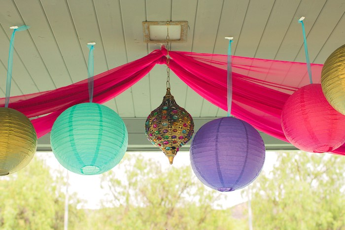 Hanging lanterns & draped curtains from a Moroccan Genie Party via Kara's Party Ideas | KarasPartyIdeas.com (22)