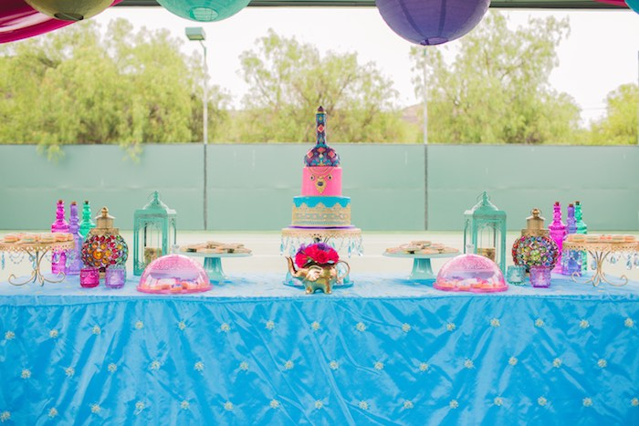 Dessert tablescape from a Moroccan Genie Party via Kara's Party Ideas | KarasPartyIdeas.com (21)