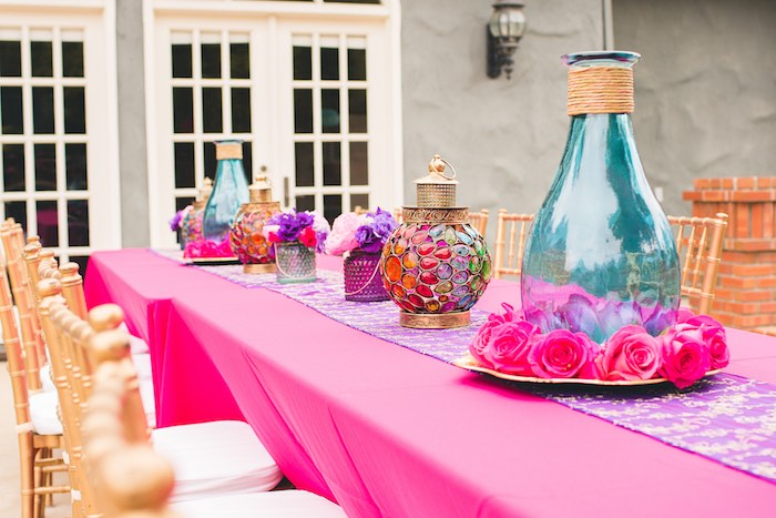 Gorgeous party tablescape from a Moroccan Genie Party via Kara's Party Ideas | KarasPartyIdeas.com (15)