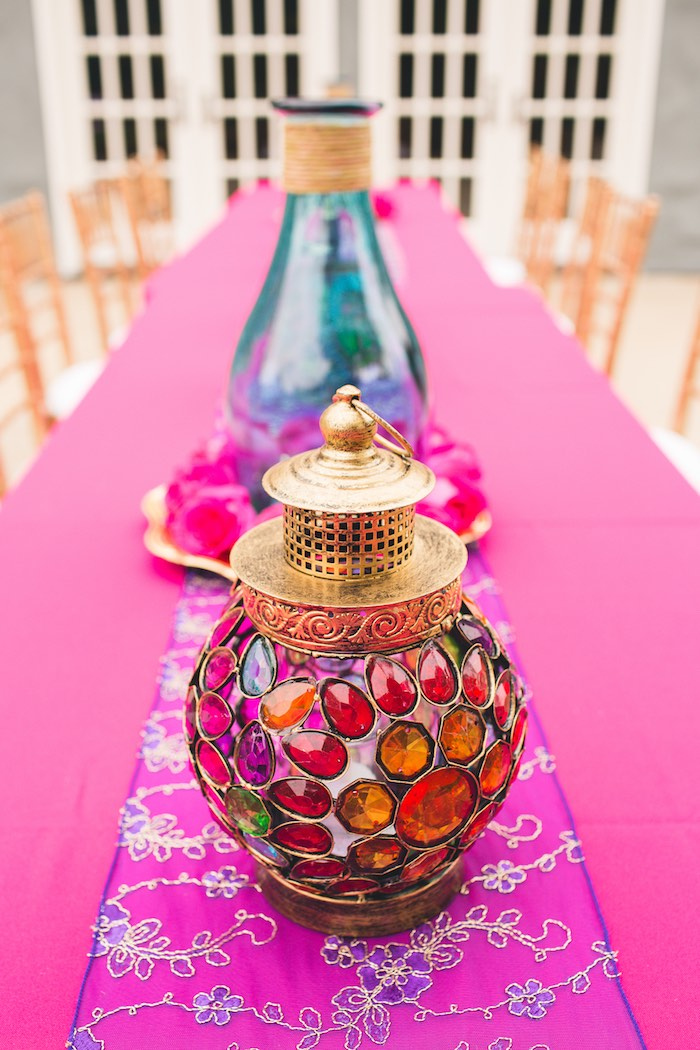 Jeweled table decoration from a Moroccan Genie Party via Kara's Party Ideas | KarasPartyIdeas.com (14)