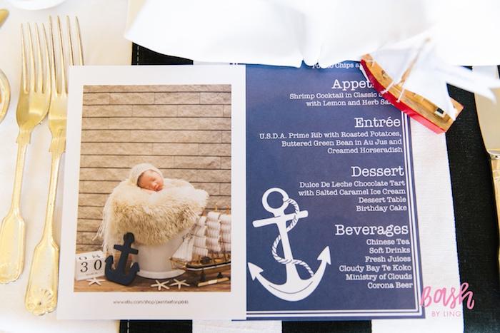 Nautical menu + party signage from a Nautical Themed 100th Day Party via Kara's Party Ideas | KarasPartyIdeas.com (19)
