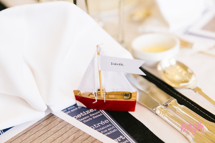 Sailboat place cards from a Nautical Themed 100th Day Party via Kara's Party Ideas | KarasPartyIdeas.com (8)